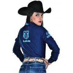 Camisa Radade Feminina Azul Bordada Ram Lançamento 2020