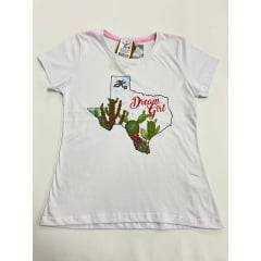 Camiseta Country Feminina 2K Jeans Cacto Branca