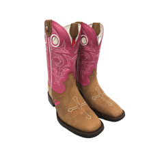 Bota Texana Country Feminina Estilo Goyazes Bordada Rosa