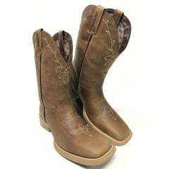 Bota Texana Country Feminina Jácomo Couro Rústico/Fóssil Buf Macadâmia
