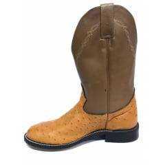 Bota Texana Masculina Country Jácomo Avestruz Conhaque