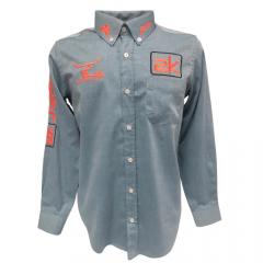 Camisa Bordada Country Masculina 2K Jeans Cinza
