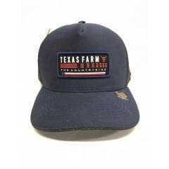 Boné Country Texas Farm Azul com tela Preta Unissex