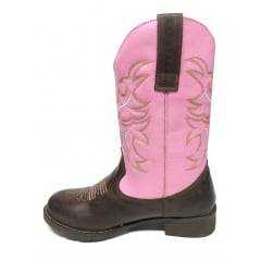 Bota Texana Feminina Big Bull Bico Redondo - Pinhão/Rosa