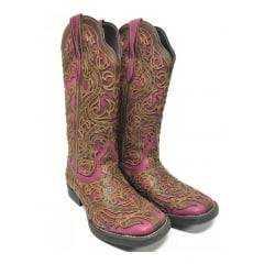 Bota Texana Country Feminina Vimar/Bulls Horse Bordô Dallas