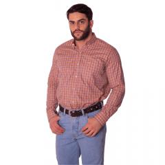 Camisa Masculina Ox Horns Xadrez Laranja Ref:9297