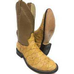 Bota Texana Country Masculina Jácomo Escamada Couro Legítimo de Avestruz
