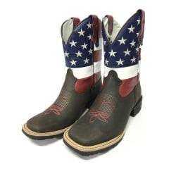Bota Texana Feminina Big Bull Com Bandeira dos Estados Unidos da América e Estrelas Bordadas