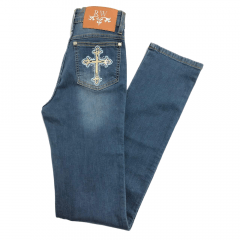 Calça Country Feminina Rodeo Way Cross Denim Bordada