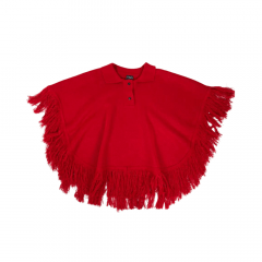 Poncho infantil lã acrílica Vermelho