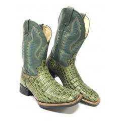 Bota Texana Country Masculina Jácomo Couro Legítimo de Jacaré Verde - Modelo Único e Exclusivo!