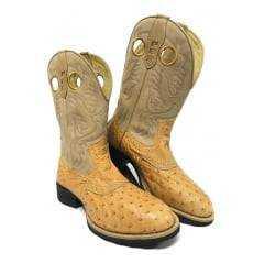 Bota Texana Country Masculina PBR Couro Legítimo de Avestruz Bico Redondo - Modelo Único e Exclusivo!