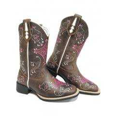 Bota Texana Feminina Big Bull Fóssil Tabaco com Bordados Rosa - Ref.900.B36
