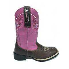 Bota Texana Country Feminina Big Bull Bico Quadrado Fóssil/Rosa