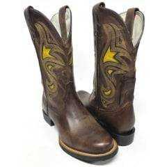 Bota Texana Goyazes Country Feminina Bico Redondo Marrom