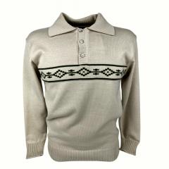 Blusa Suéter Masculino Pátria Pampa Bege Com Detalhe Verde