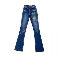 Calça Feminina Arame Jeans Square Flare Bordada Ref:01300303