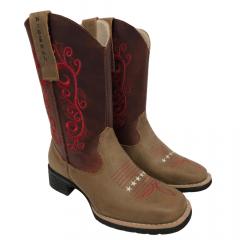 Bota Texana Feminina Big Bull Boots Areia Fóssil Vermelha