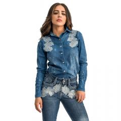 Camisa Ágata Azul Feminina Miss Country - Jeans - Ref 0666