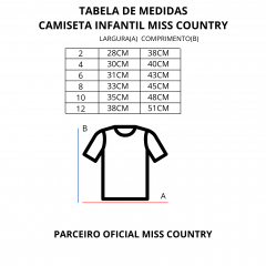 Camiseta T Shirt Infantil Miss Country Rosa Ref.: 0701