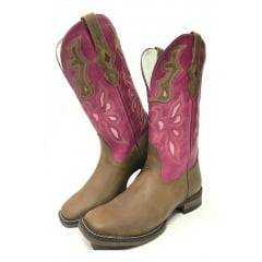 Bota Texana Feminina Goyazes - Crazy Horse Tabaco/Atlanta Pink