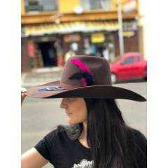Chapéu Country Feminina Pralana Marrom Com Pena Rosa