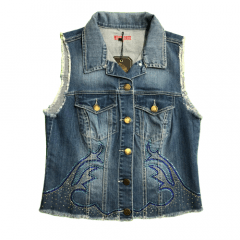 Colete Jeans Feminino West Dust Country