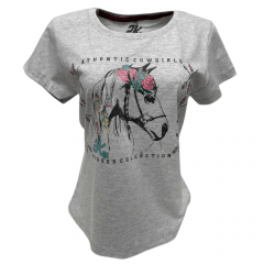 Camiseta Feminina 2K Jeans Cinza com Strass - Ref. 0045