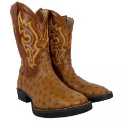 Bota Texana Masculina Strut Western Couro Avestruz Ref:011