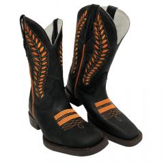 Bota Texana Feminina Country Texas Rodeo Bordado Laranja