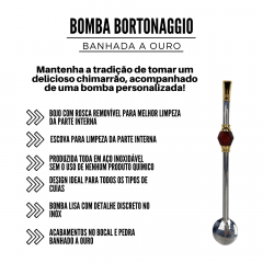 Bomba de Chimarrão Bortonaggio com Pedra Marrom Ref.: D257
