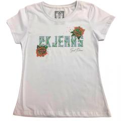Camiseta Country Feminina 2K Jeans Branca Com Rosas