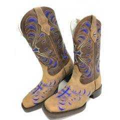 Bota Texana Feminina Bico Quadrado Texas Rodeo - Ref. TR208