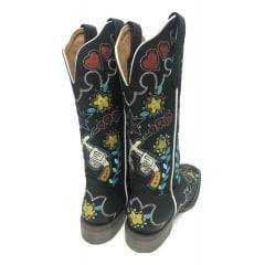 Bota Texana Feminina Goyazes Malboro Preto com Desenhos