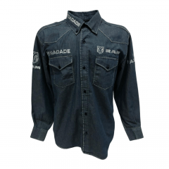 Camisa Country Masculina Radade Jeans Azul Bordada RAM