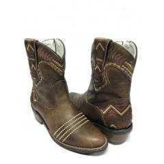 Bota Texana Feminina Goyazes Bico Redondo Dallas Tabaco