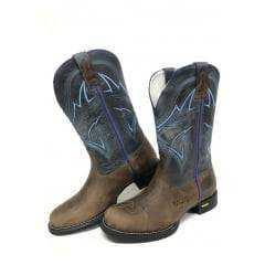 Bota Texana Masculina Wrangler Bico Redondo Dallas Tabaco/Dallas Marinho