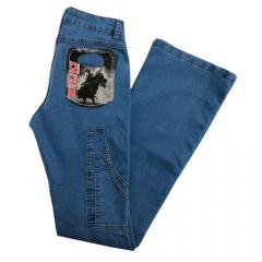 Calça Carpinteira Flare Renunci Country Feminina Azul Delavê