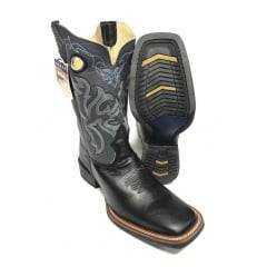 Bota Texana Country Masculina Durango Preta com Cinza