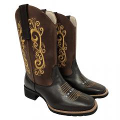 Bota Texana Feminina Big Bull Boots Café Fóssil Amarela