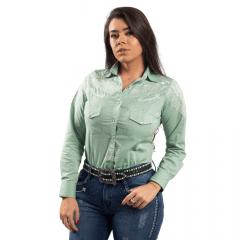 Camisa Feminina Miss Country Verde Arabesco Ref.: 0683