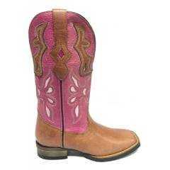 Bota Texana Feminina Goyazes Couro Atlanta Mogno Cano Pink