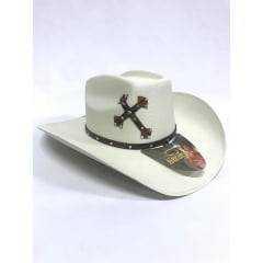 Chapéu Eldorado Feminino Country Branco Com Strass E Cruz
