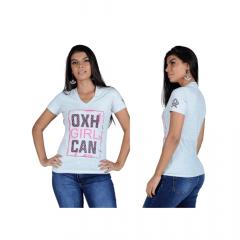 Camiseta Feminina Ox Horns T Shirt Cinza REF 6191