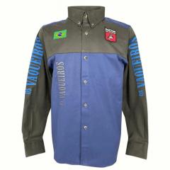 Camisa Masculina Os Vaqueiros Sarja Bordada Azul Ref.: 47898