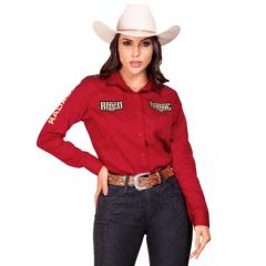 Camisa Radade Feminina Vermelha ML Ram Rodeo Ref: 004514