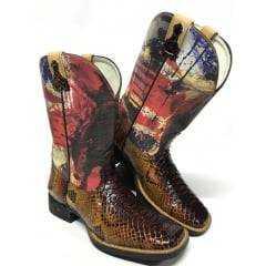 Bota Texana Masculina Goyazes Couro De Cobra Piton