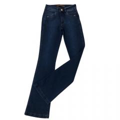 Calça Jeans Country Feminina Stabulos Flare Azul Escuro
