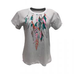 Camiseta Feminina Power Country Branca Estampa Penas